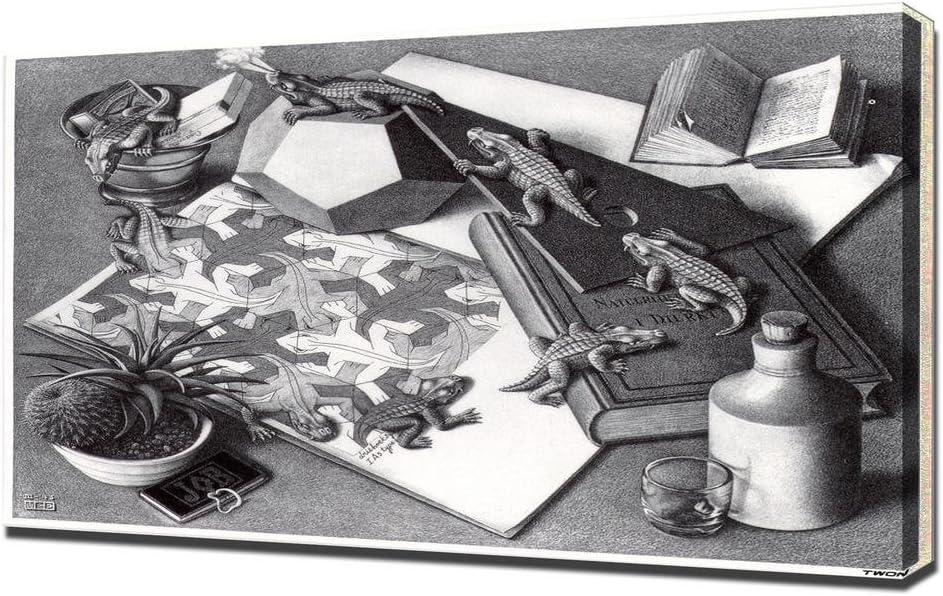 Art Print By M C Escher Reptiles Canvas Wall Art Amazon De Home Kitchen