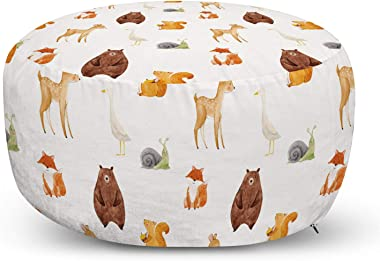 Ambesonne Animals Ottoman Pouf, Animals Watercolor Illustration Friendly Woodland Forest Nature, Decorative Soft Foot Rest wi