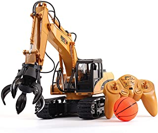 Hugine RC Truck Timber Grab Loader Crawler Material Handler Alloy Gripper Engineer Machine 2.4G Construction Vehicle Remot...