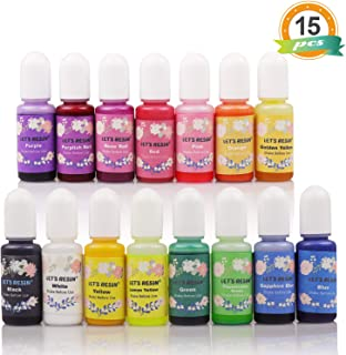 LET'S RESIN 15 Colors Epoxy Pigment, Translucent Liquid Resin Colorant Each 0.35oz, Non-Toxic Epoxy Resin Dye Mix Color Liquid Dye for Resin Jewelry DIY Crafts Art Making