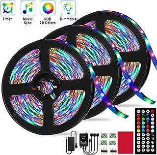 LED Strip Lights, Borllyem RGB LED Light Strip 29.53ft/9M Music Sync RGB LED Strip,5050 SMD Color Changing LED Strip Lights with 44 Key Timing IR Remote Rope Light Strip Kit LED Lights for Room Party