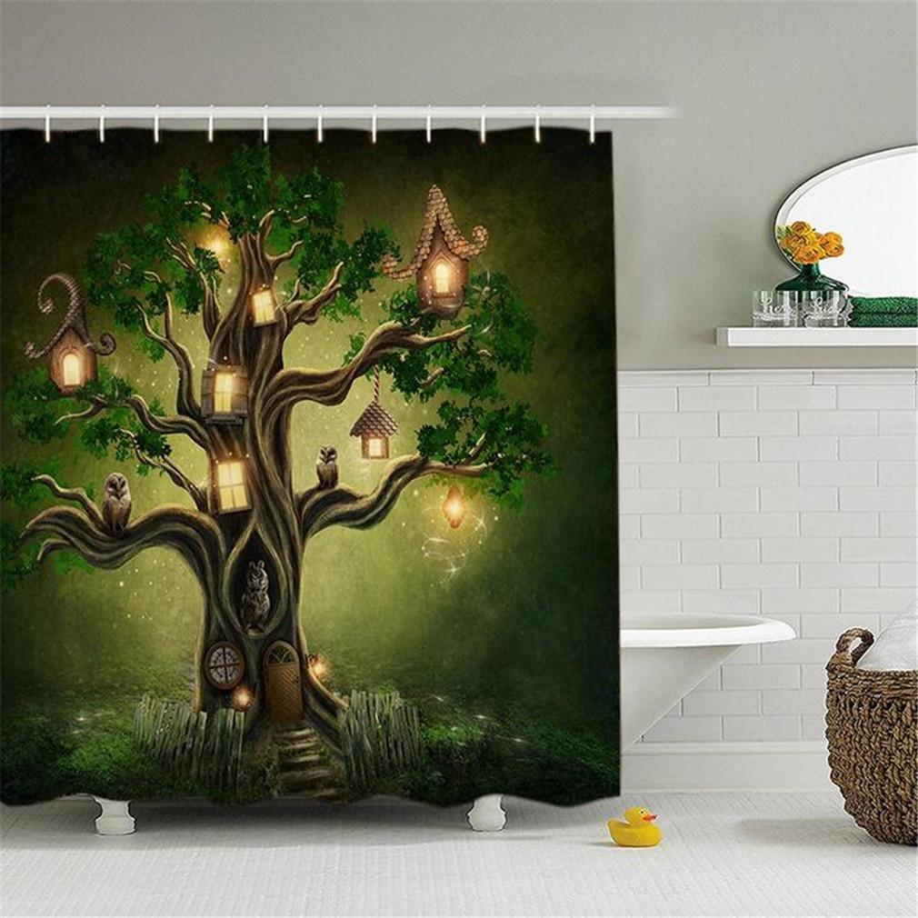 SASA,Cortina de Ducha Digital 3D árbol Creativo Personalizado impresión Impermeable Cortinas poliéster Verde baño mampara Pantallas, 150 * 180: Amazon.es: Hogar