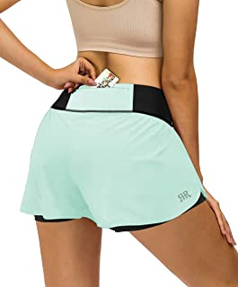 REYSHIONWA 2 in 1 Running Shorts Women Sports Workout Athletic Shorts with Liner Active Shorts Back Zipper Pockets