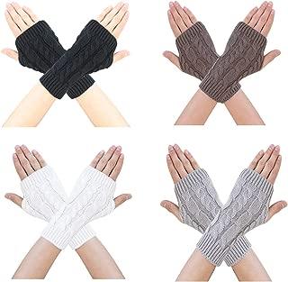 Bestjybt Women Winter Warm Knit Fingerless Gloves Hand Crochet Thumbhole Arm Warmers Mittens
