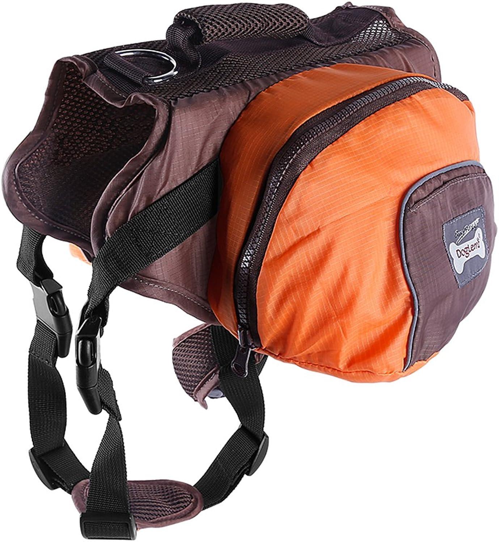 Dog Backpack Pet Adjustable Saddlebag Dog Harness Carrier Lightweight and Foldable Bags for Outdoor Travel Hiking Camping (S, orange)