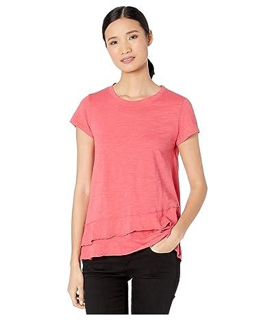 Mod-o-doc Slub Jersey Asymmetrical Flounce Hem T-Shirt (Azalea) Women