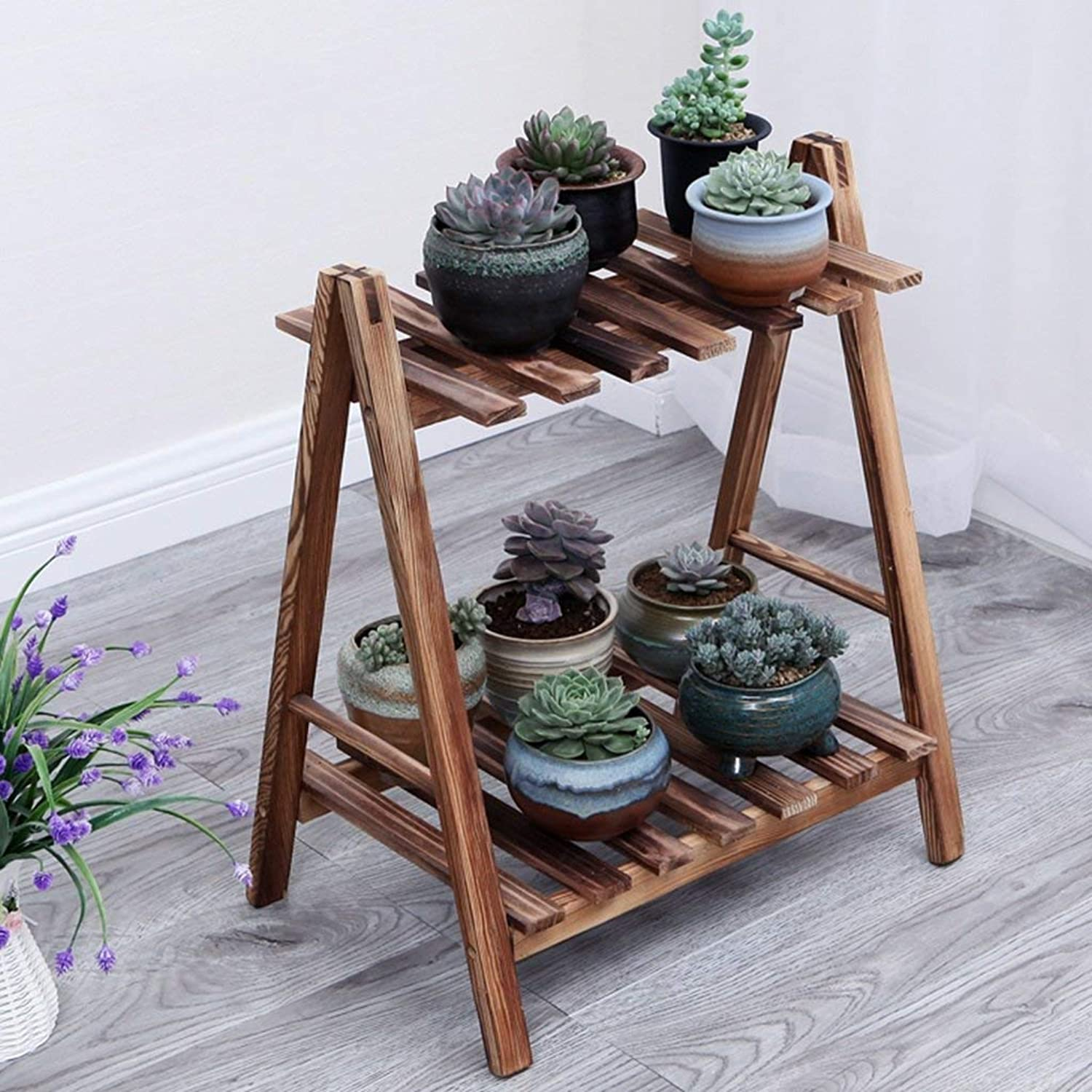 DEED Wood Flower Stand Outdoor Rack Stand Indoor and Outdoor Balcony Decorative Shelf Living Room Plant Space Saving Flower Pot Holder