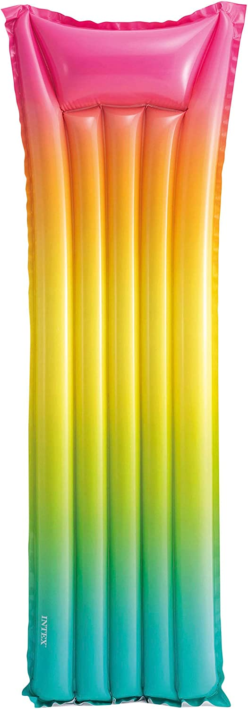 Intex 58721EU - Colchoneta hinchable INTEX, colchoneta arcoíris, 53x170x15 cm, colchoneta para la playa, colchoneta inflable multicolor, tumbona hinchable