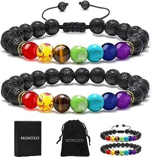 MONOZO Bead Chakra Bracelet - 7 Chakras 8mm Lava Rock Stone Anxiety Bracelet Essential Oil Diffuser Stone Yoga Beads Bracelets Meditation Relax Healing Aromatherapy Bangle for Men Wonmen Kids