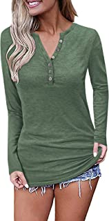 Sponsored Ad - MISFAY Womens Long Sleeve V-Neck Button Causal Henley Tops Blouse