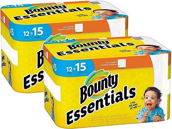 Bounty Essentials Full Sheet Paper Towels 24 Large Rolls 30 Regular Rolls