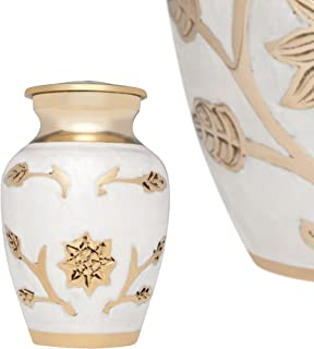 Liliane Memorials Mini Keepsake Urn • Miniature Funeral Cremation Urn fits Small Amount of Ashes • Lisette White Model • 3 inches Tall
