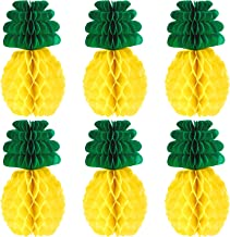 6 Pieces 12 Inches Paper Pineapples Honeycomb Balls Tissue Paper Pineapples Craft for Tropical Hawaiian Themed Party Hanging Centerpieces Supplies
