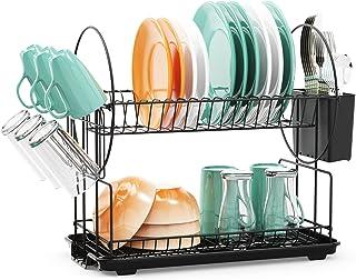 قفسه خشک کن ظرف با Drainboard - iSPECLE 2 Tier Dish Rack with Cup Holder Drain Spout Dack Rack and Drainboard Set with Utensil Holder ظرف شستشو مخصوص آشپزخانه ، سیاه