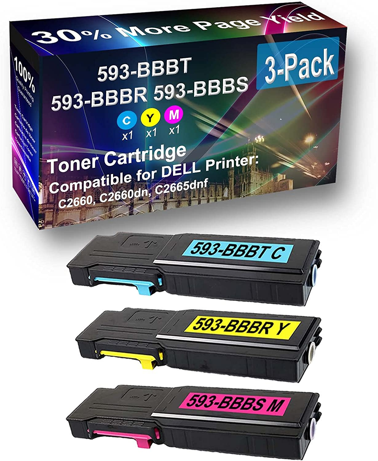 3-Pack (C+Y+M) Compatible C2660, C2660dn, C2665dnf Printer Toner Cartridge High Capacity Replacement for Dell 593-BBBT+ 593-BBBR+ 593-BBBS Toner Cartridge