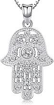 Collar de plata de ley 925 con colgante de mano de Fátima con circonita cúbica, regalo de joyería de protección – viene con caja delicada