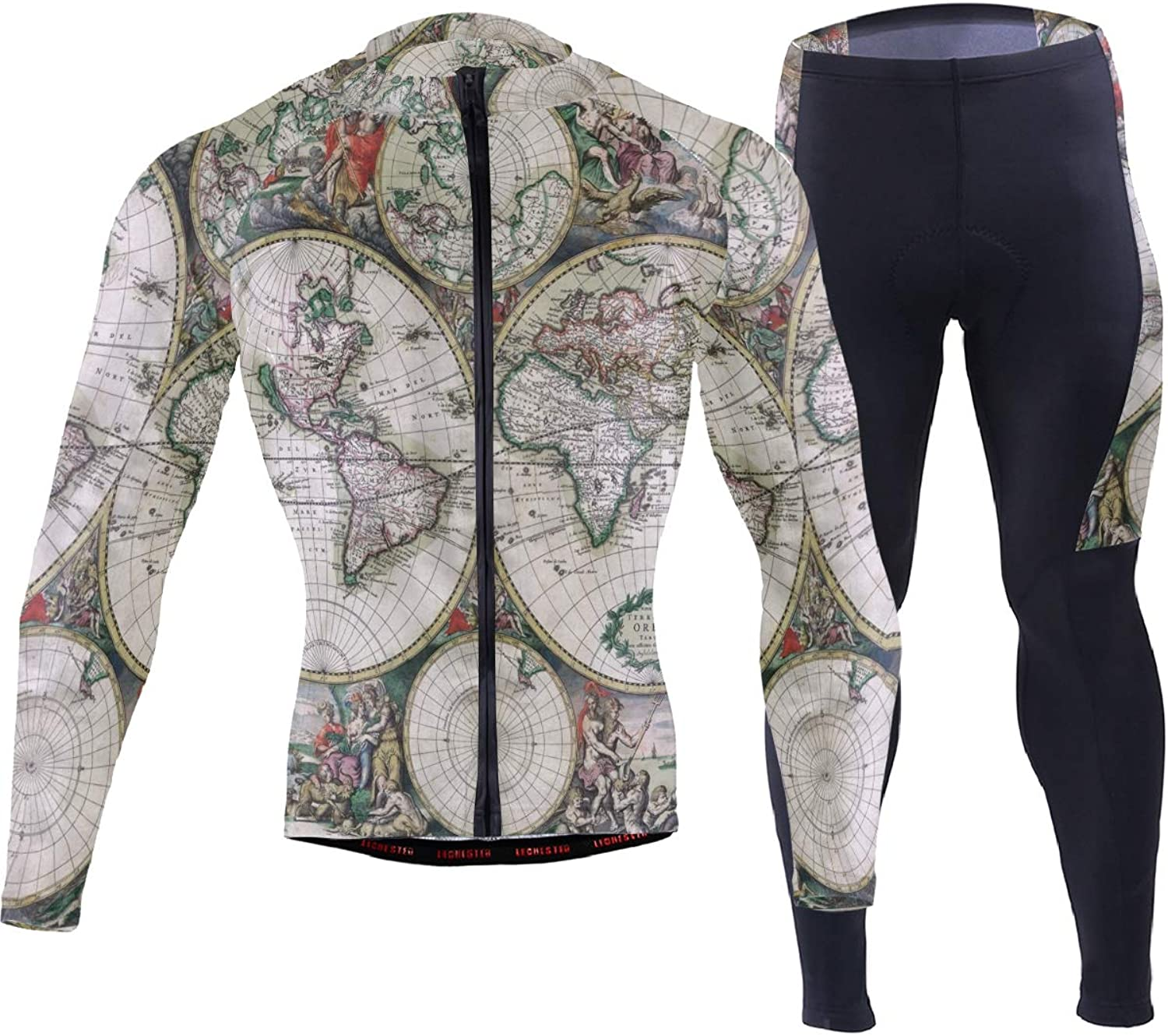 FAJRO Large Detailed Antique Political Map of The World Sportswear Suit Bike Outfit Set Breathable Quick Dry 3D Padded Pants