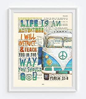 Life Is An Adventure, I Will Instruct and Teach You in the Way You Should Go, Psalm 32:8, Christian Unframed Art Print, Classic Vintage Antique Van Bible Verse Scripture Gift, 8x10 inches
