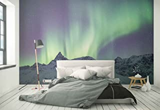 Photo wallpaper wall mural - Aurora Snow mountain Night sky - Theme Sky & Clouds - L - 8ft 4in x 6ft (WxH) - 2 Pieces - Printed on 130gsm Non-Woven Paper - FW-1083V4
