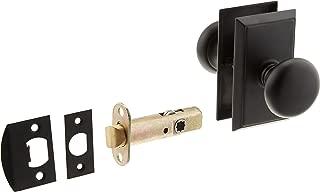 Providence Door Set with Round Brass Knobs Passage in Flat Black. Doorsets.