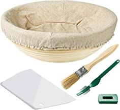 Amityke Bread Proofing Basket, 10 Inch Baking Dough Bowl Round French Style Artisan Sourdough Bread Bakery Basket with Scraper Cloth Liner Cutter Brush 100% Natural Rattan for Family Bread Maker