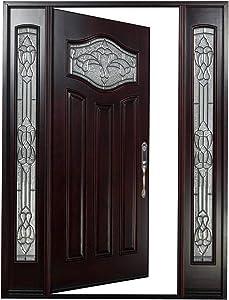 """Front Entry Door with Two Sidelight Windows Nice Flower Glass Window(Left Hand, 18"""" Sidelite Door)"""