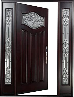 "Front Entry Door with Two Sidelight Windows Nice Flower Glass Window(Left Hand, 18"" Sidelite Door)"