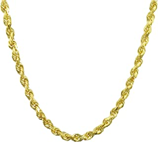 "14k Yellow Gold Solid 4mm Diamond Cut Rope Chain Pendant Necklace, 18""- 30"""