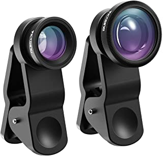 VicTsing Phone Camera Lens, 180° Fisheye Lens+0.65X Wide Angle Lens & 10X Macro Lens (Screwed Together), Clip on Cell Phone Lens Kits Compatible with iPhone 8/7/6s, Most Android and Smart Phone- Black