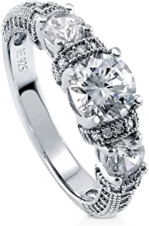 Rhodium Plated Sterling Silver Round Cubic Zirconia CZ 3-Stone Art Deco Milgrain Promise Engagement Ring 1.65 CTW