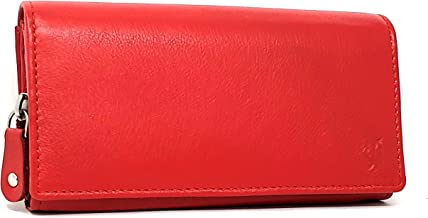 STARHIDE Ladies RFID Blocking Soft Genuine Leather Flap Over Purse Multi Credit Card Slots 5510 (Red)