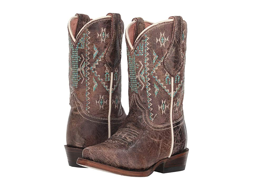 Roper Kids Out West Snip (Toddler/Little Kid) (Waxy Brown Vamp/Aztec Embroidered Shaft) Cowboy Boots