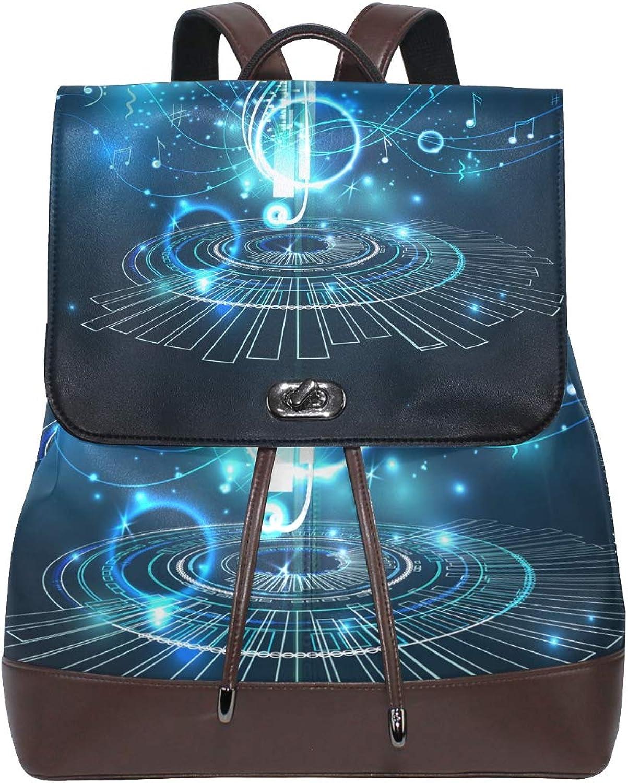DEZIRO Leather Musical Note Light School Pack Backpacks Travel Bag