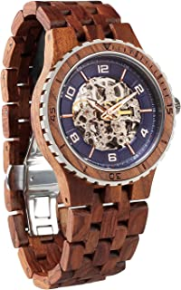 Wood Watches Premium Eco Self-Winding Wooden Wrist Watch for Men, Natural Durable Handcrafted Gift Idea for Him