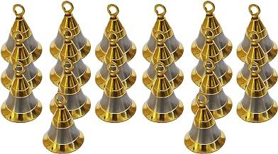 "PARIJAT HANDICRAFT Pack of 20 Elephant Camel Cow Brass Bells 2"" Height 1.5"" Dia Indian Vintage Style Decor Assorted 2"" Brass Bells"
