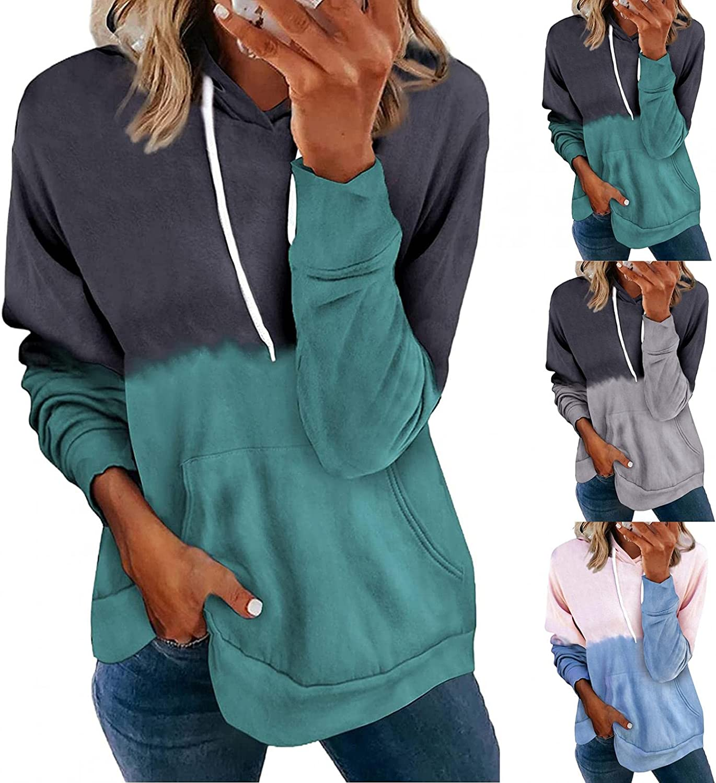 Fudule Graphic Hoodies for Women, Cute Dandelion Printed Sweatshirt Women Casual Long Sleeve Shirts Lightweight Blouses