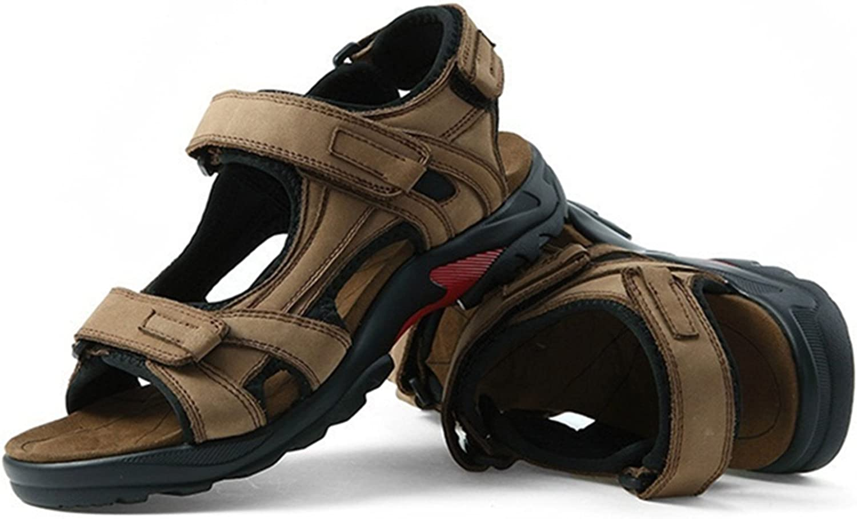 DADAWEN Men's Summer Leather Outdoor Beach Adjustable Strap Athletic Sport Sandals Khaki US Size 10.5
