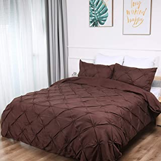 GUIDEAR Brown Pinch Pleat Duvet Cover Flower Duvet Cover with 2 Pillowcases Luxurious Adults Bedding Set with Zipper Closure Soft Breathable Hypoallergenic Durable Duvet Cover King Size 90