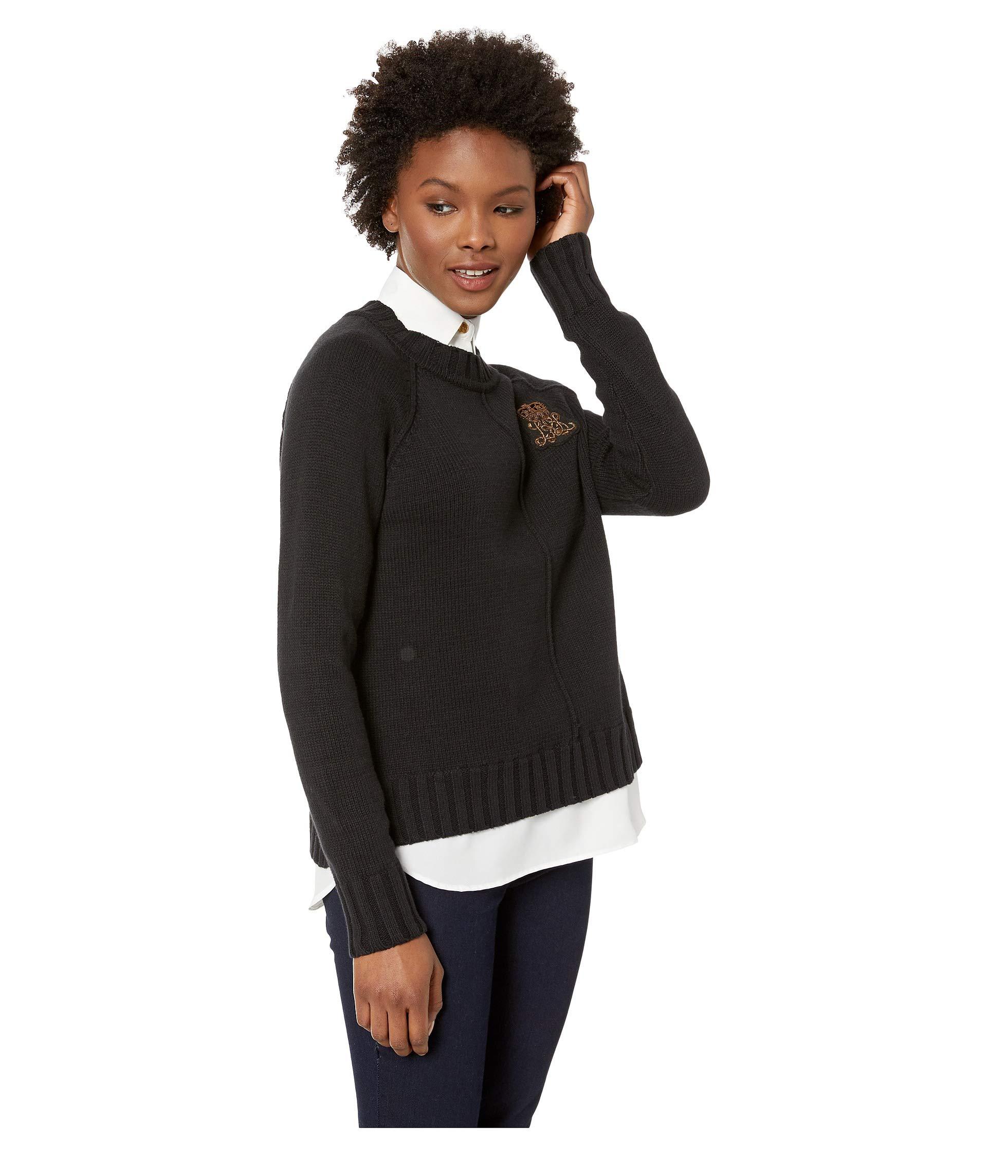 Petite Bullion Polo Black Shirt patch Layered Lauren Ralph zZqana