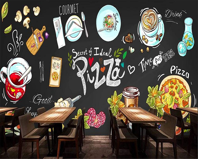 Fondo de pantalla HD pintado a mano pizarra pizzería fondo parojo restaurante cantina decorativo mural papel tapiz 3d - 200X140CM