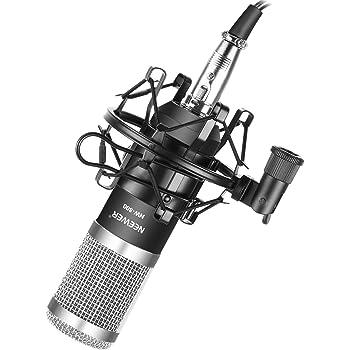Neewer NW-800 Pro Set de Micrófonos para Estudio con Montaje Antichoque, Forma de Bola, Cable Audio de 3,5 mm a XLR para Grabación Transmisión Periscope Vivo(Negro/Plata)