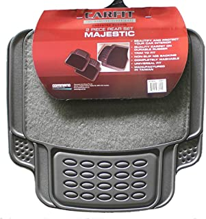 Carfit 4578055 Majestic Rear Carpet and Rubber Car Floor Mat 2 Piece Set, Grey, Set of 2