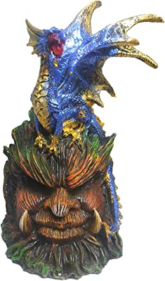Blue Dragon On Top Ancient Statue with Light up Eyes Multicolor 9 Inches Tall Kwa-04