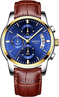 NIBOSI Watches Men's Chronograph Quartz Watch with Leather Strap Wristwatches for Men Blue Calendar Date Watch