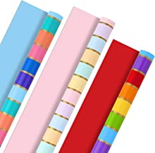 Hallmark All Occasion Reversible Wrapping Paper Bundle - Rainbow Stripes and Solid (3-Pack: 75 sq. ft. ttl.) for Easter, M...