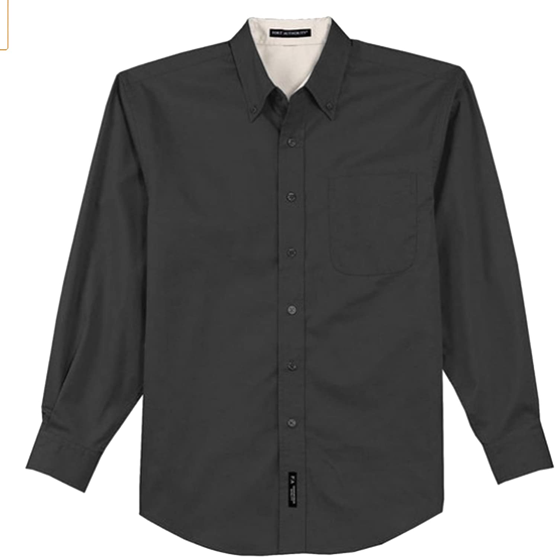 Port Authority Tall Long Sleeve Easy Care Shirt, Classic Navy/Light Stone