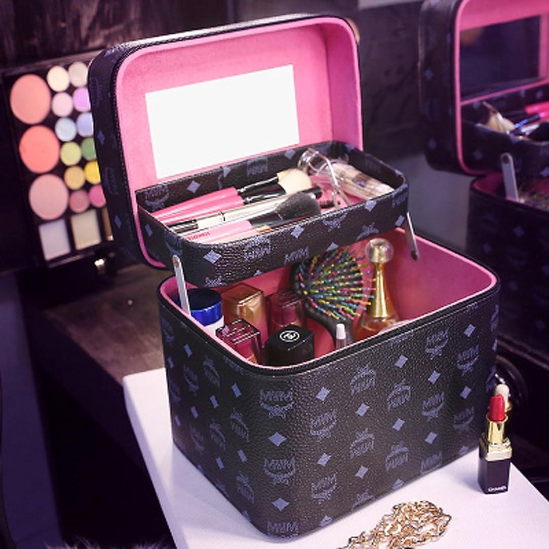 約設定人工常習的化粧品収納ボックス コスメボックス コスメ収納ボックス 化粧品入れ レディース ジュエリーボックス 小物 収納 メイクボックス (ブラック)