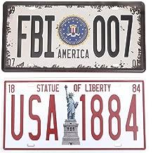 HANTAJANSS FBI 007 Statue of Liberty License Plate Metal Sign 2 Pack, Retro Vintage Tin Signs for Car Plate Cover, Garage, Pub, Restaurant, Bar, Store Decoration