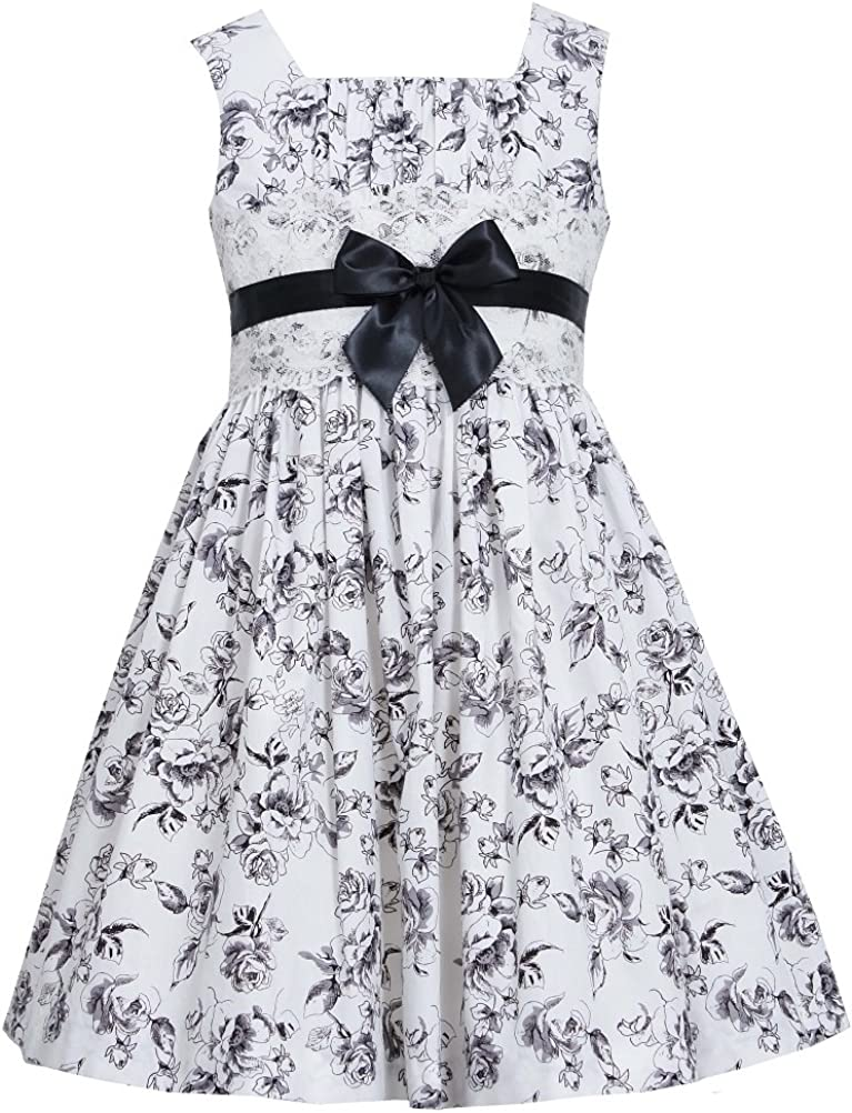 Bonnie Jean Little Girls' Poplin Floral Dress with Lace Band