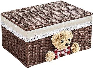 ZTMN Stockage Basket Tissu en rotin avec Couverture de Rangement pour boîte de Rangement pour Panier de Rangement pour boî...